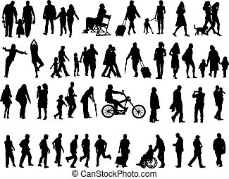 Another over fifty people black silhouettes on white background. Vector illustration. Walking families, friends, dancers, children and guys.
