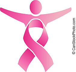 People body formed by pink ribbon