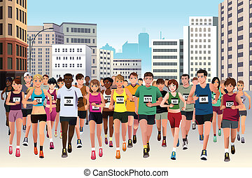 A vector illustration of group of marathon athlete running on street