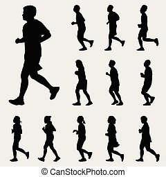 People Running Silhouettes Vector Set