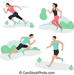 People running sport sprint men and women.
