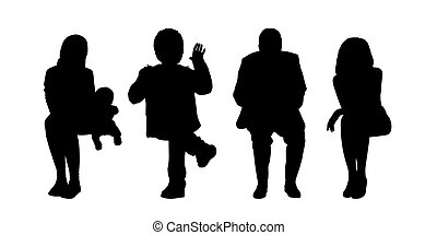 black silhouettes of people of different sex and age seated outside in various postures