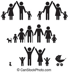 People silhouette family icon. Person vector woman, man. Child, grandfather, grandmother, dog, cat, baby buggy, carriage. Generation illustration.