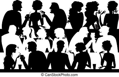 Vector illustration of silhouettes of people at cafe