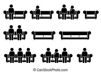 People Sitting on Chair Sofa.