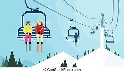 People Skier On Cable Car Transportation Rope Way Over Mountain Hill