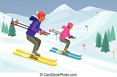 People skiing. Vector flat illustration