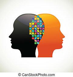 People talk, think, communicate, vector illustration