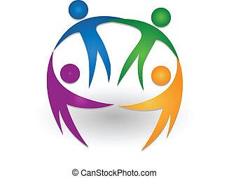 People together teamwork logo