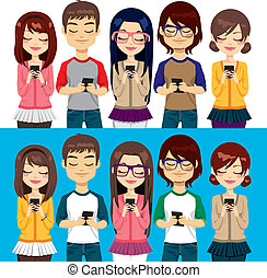 Five different young people using mobile phones socializing on internet
