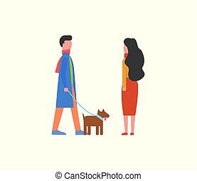 People Walking Dog on Leash, Couple Domestic Pet