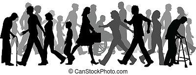 Silhouette of a huge crowd of people walking