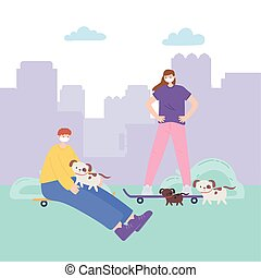 people with medical face mask, boy and girl with skates and dogs in the park, city activity during coronavirus