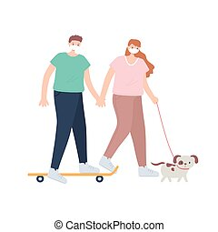 people with medical face mask, boy riding skate and girl walking with dog, city activity during coronavirus