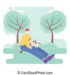 people with medical face mask, boy sitting on skate with dog in the park, city activity during coronavirus