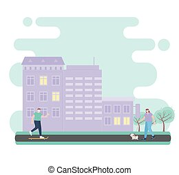 people with medical face mask, man riding skate and woman walking with dog in the street, city activity during coronavirus