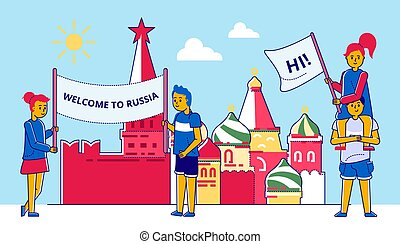 People with poster, russia banner background vector illustration. Woman man with welcome banner, culture traditional summer card.