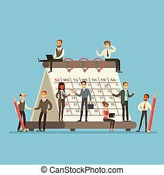 People Working In Business Firm Around Giant Calendar Talking, Discussing And Planning The Strategy