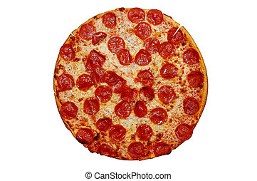 Whole pepperoni pizza. Isolated image with clipping path.