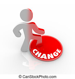 A person stands onto a button marked Change and his color transforms to symbolize his evolution