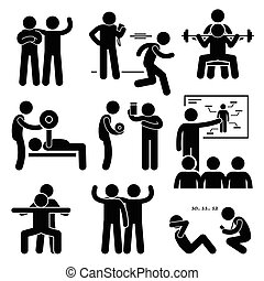 A set of human pictogram representing exercising and workout with a personal coach trainer instructor.