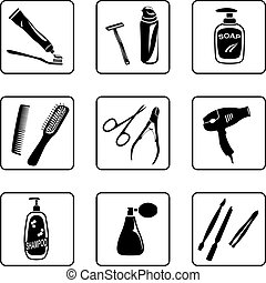 Personal hygiene objects black and white silhouettes