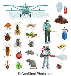 Pest control cartoon set with pest insects, rodent