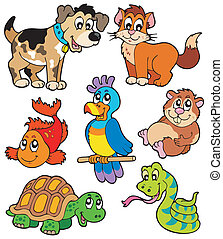 Pet cartoons collection - vector illustration.