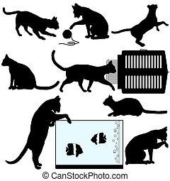 Pet Cat Silhouette Objects