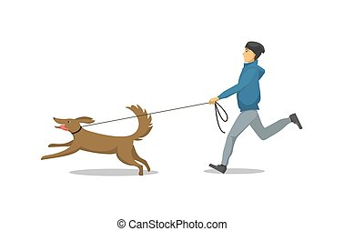 Pet Dog and Its Owner Running Isolated Vector