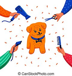 Pet grooming concept. Happy lap-dog and hands with comb, hair dryer, scissors and haircut clipper on white background. Dog care, grooming, hygiene, health. Flat style vector illustration.