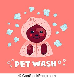 Pet grooming concept. Happy lap-dog in a towel and bathrobe in spa salon. Dog care, grooming, hygiene, health. Pet shop, accessories. Flat style vector illustration.