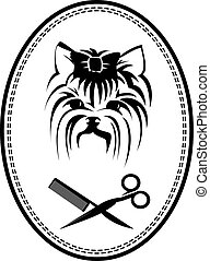 Pet grooming logo with dog, hairbrush and scissors, doggy sign