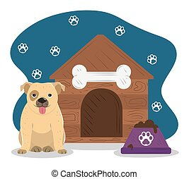 pet little dog house and bowl with food