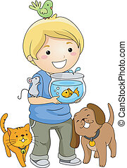Illustration of a Little Boy Surrounded by Different Pets