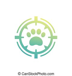 pet search, vector logo, paw print and crosshair
