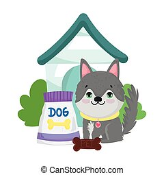 pet shop, cute puppy sitting with food and house animal domestic cartoon