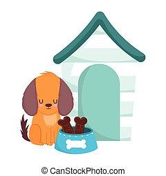 pet shop, little dog sitting with house bowl bones food animal domestic cartoon