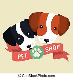 pet shop poster faces puppy design