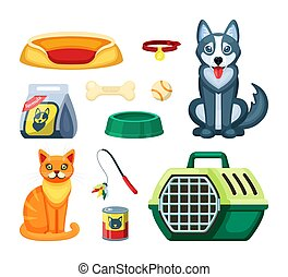 Pet shop set. Assortment for cat and dog, toy, white ball, rubber bone, canned and dry food with a plastic green feeder, portable container, food, brisket. Vector graphics.
