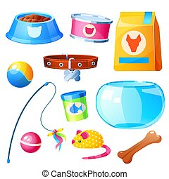 Pet shop set with toys, bowl, feed and aquarium