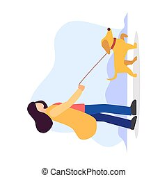 Pet sitting. Woman with dog on leash. Pet owner. Obedient animal. Vector isolated flat cartoon modern illustration in blue background.