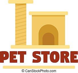 Pet store cat toys logo, flat style