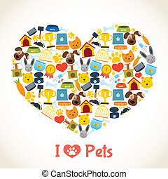 I love pets heart concept with comfort care elements vector illustration