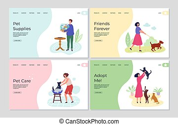 Pets landing pages. People caring about animals. Cute flat characters with cats, dogs and fish vector web banners