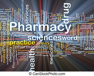 Background concept wordcloud illustration of pharmacy glowing light