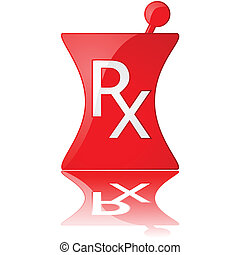 Glossy illustration of a red pharmacy icon