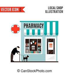 Pharmacy shop icon isolated on white background.