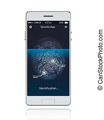 Realistic phone with mobile security application scanning fingerprints vector illustration