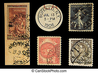 Photo of Old Postage Stamps.